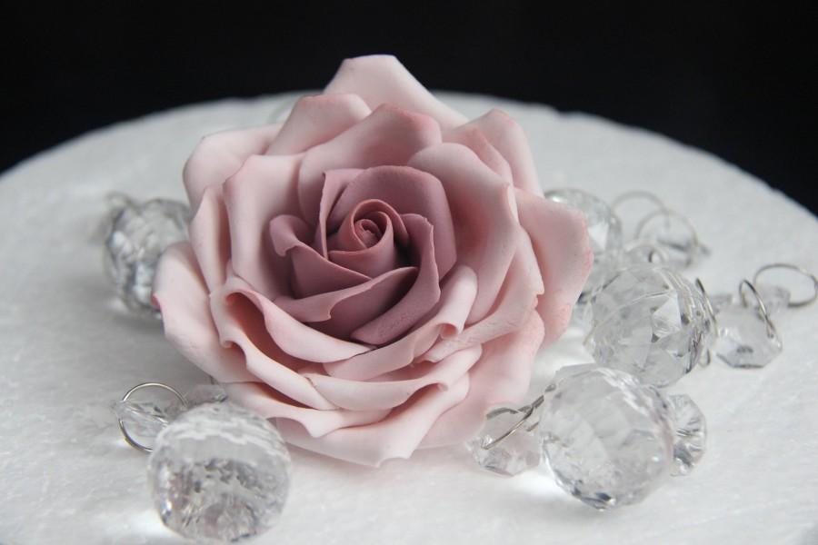 Wedding - Large non- wired dusky pink and pink shaded Gumpaste rose for cake decorations. Filler fondant sugar wedding cake toppers cupcake roses.