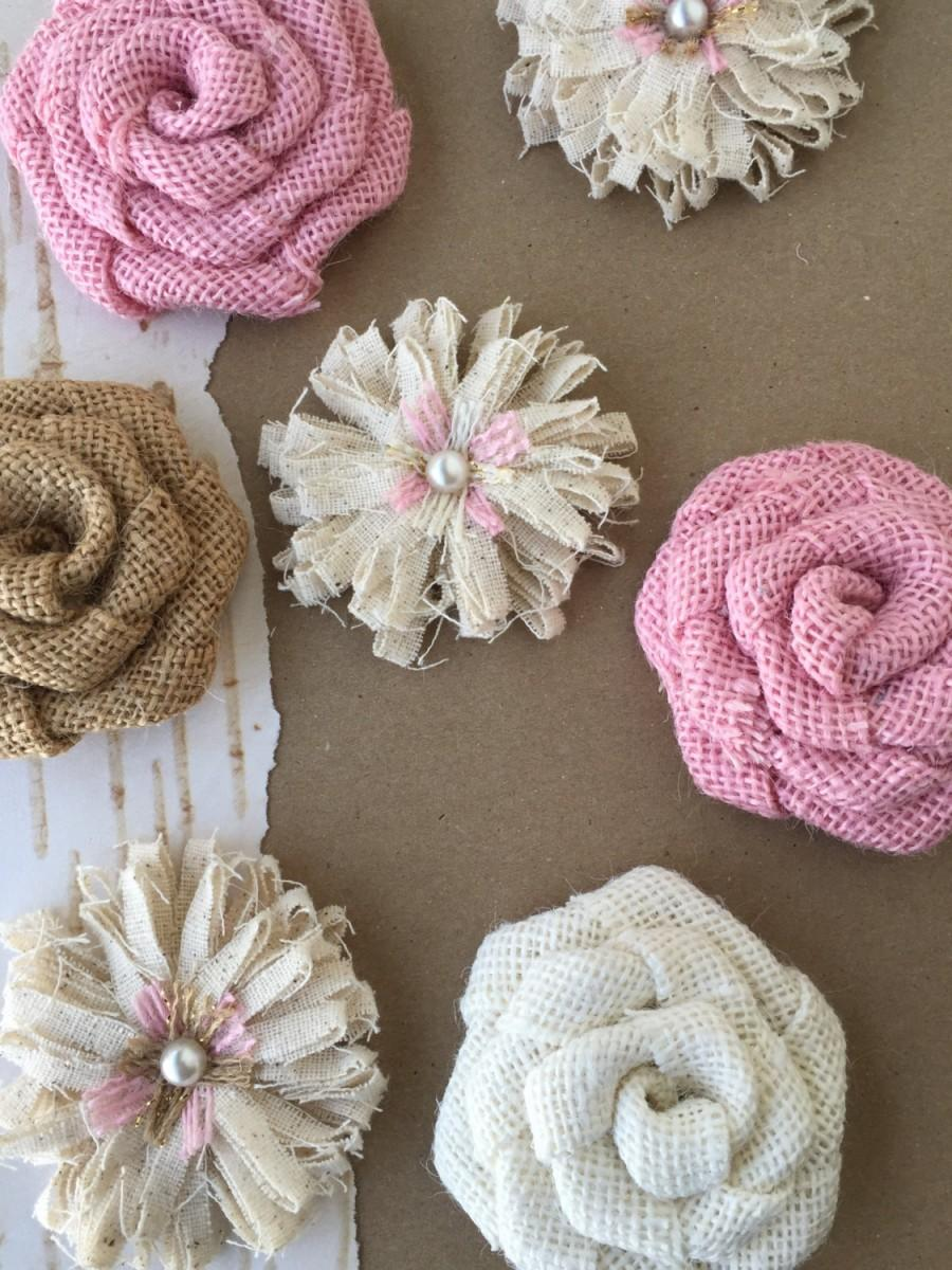 Mariage - Pink Burlap Flower Set of 7 - Rustic Baby Shower, Rustic Wedding, Baby Shower Decorations