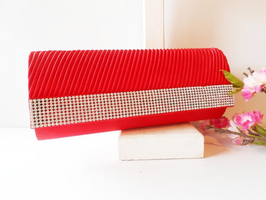 Свадьба - Vintage Red Evening Bag, Glamorous Holiday Handbag, Sparkly Beaded Clutch Bag EB-0614
