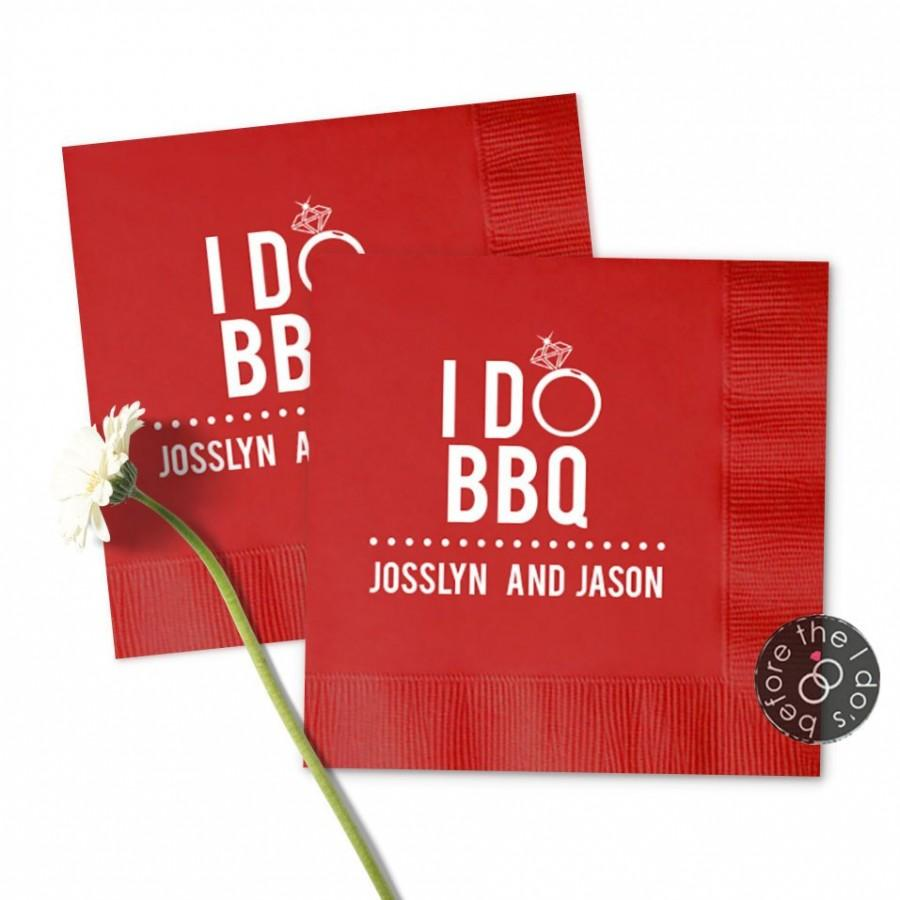 Свадьба - Engagement Party I Do BBQ Napkins Napkins /// Reception Napkins, Personalized Napkins, Party Napkins, Cocktail Napkins
