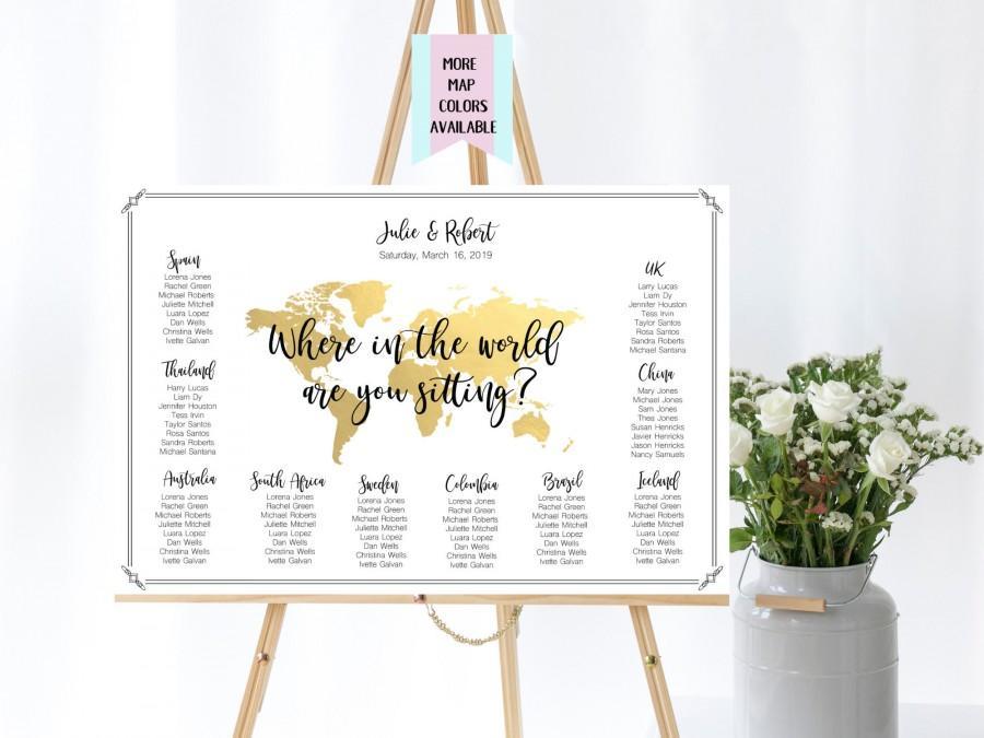 زفاف - Travel Theme Wedding Seating Chart, Where In The World Are You Sitting, Wedding Seating Arrangements, World Map Sitting Chart, TT1