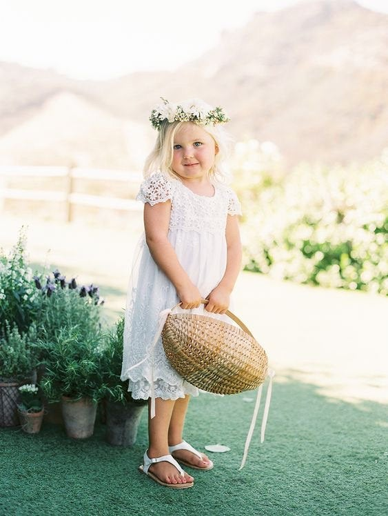زفاف - Lace Flower Girl Dress-Rustic Flower Girl Dress-Vintage girl dress-Country girl Dress-White Flower girl dress-Communion Dress-Lace boho girl