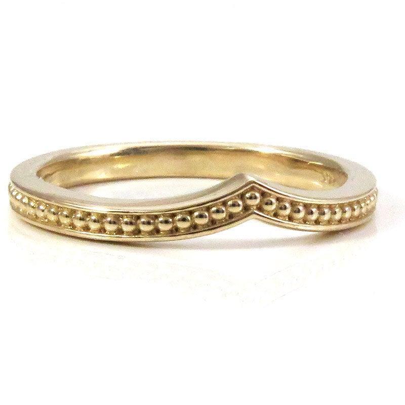 Mariage - Modern Chevron Millgrain Nesting Band Midi Knuckle or Engagement Ring - 14k Gold Wedding Band