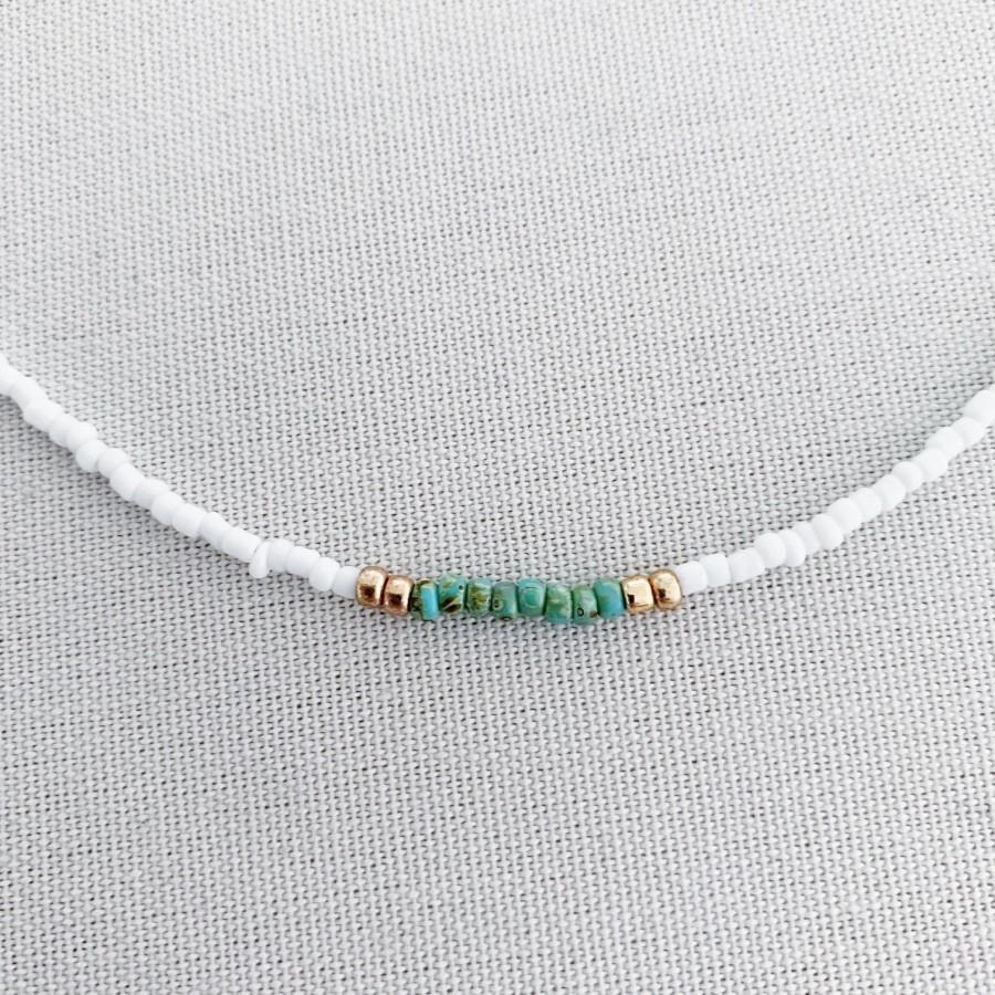 Mariage - White beaded choker with gold and turquoise, boho choker, dainty choker, beach necklace, summer necklace, tiny beaded choker
