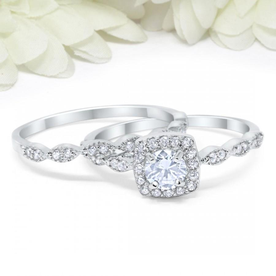 Mariage - Halo Wedding Engagement Set Art Deco Ring Band Sterling Silver Round Simulated Diamond CZ