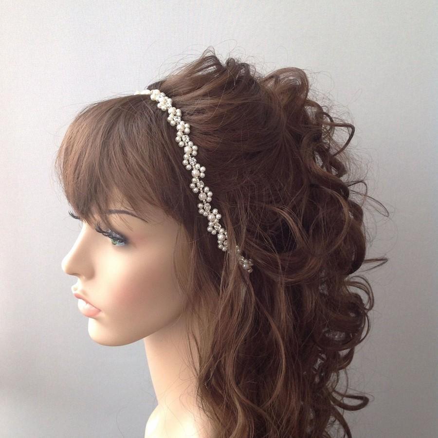 زفاف - Bridal Headband, Wedding headband, Pearl Wedding Headband, hair jewelry, ivory head piece, brides accessories, gift for her