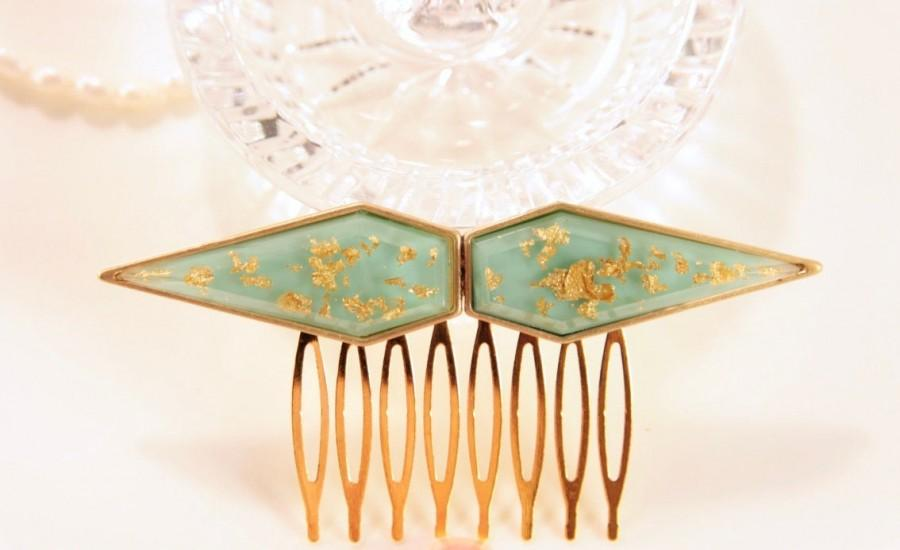 Mariage - Art Deco Hair Comb Turquoise Hair Comb Gold Hair Comb Wedding Hair Comb Bridal Hair Comb Gold Head Piece Abstract Headpiece Decorative Clip