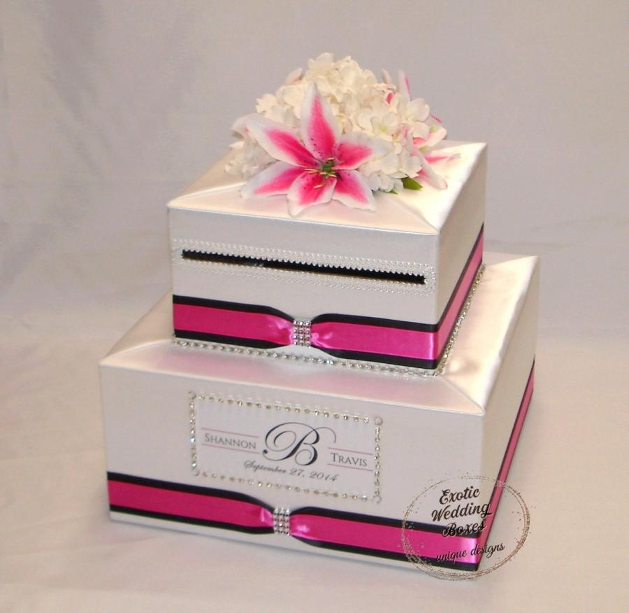 Mariage - Elegant Custom made Two tier Card Box, Hot Pink and Black accents