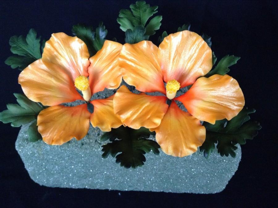 زفاف - Gum Paste Hawaiian Hibiscus Cake Decorations Yellow and Orange Gumpaste
