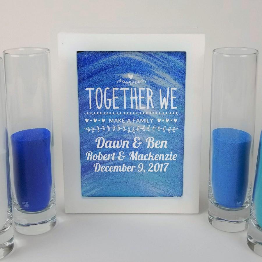 Mariage - Blended Family Wedding Sand Ceremony Set, Shadow Box Kit, Unity Candle Alternative, Together We Make a Family, Blended Family Sand Frame