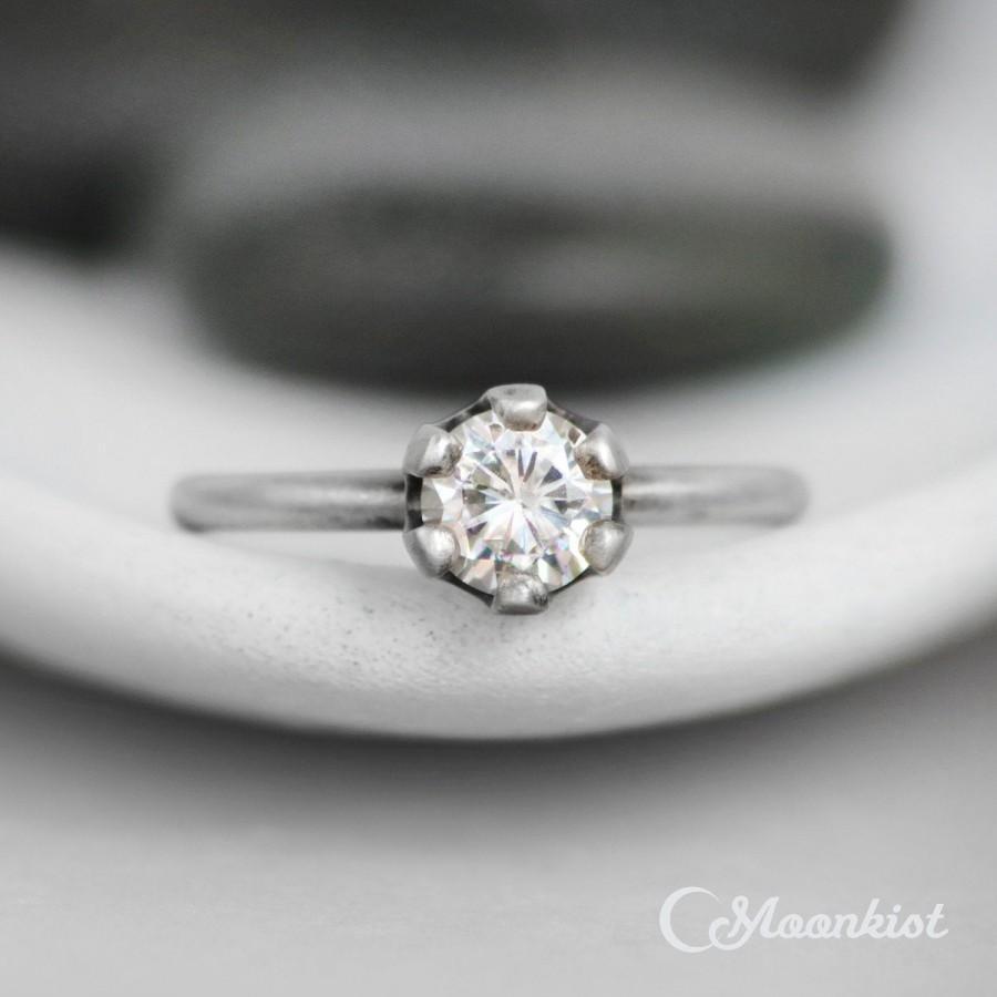 Mariage - Moissanite Crown Engagement Ring - Sterling Silver Crown Ring - Moissanite Wedding Ring - Diamond Alternative Engagement Ring - Tiara Ring