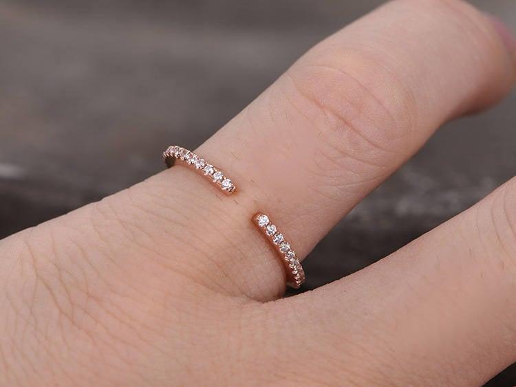 زفاف - Sterling silver ring/Cubic Zirconia wedding band/CZ wedding ring/line band/Open Art Deco Matching band/Half eternity ring/Rose gold plated
