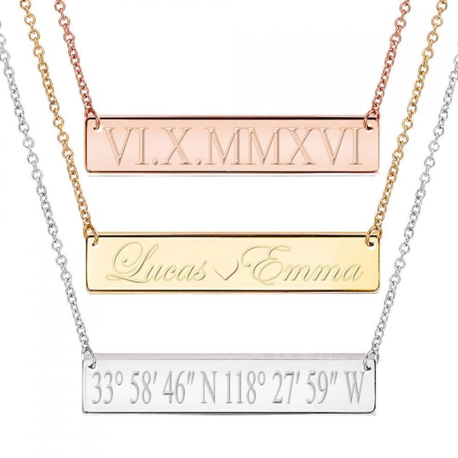 Mariage - Custom Bar Necklace, Coordinate Bar Necklace, Name Bar Necklace, Roman Numeral Necklace,  Gold Necklace