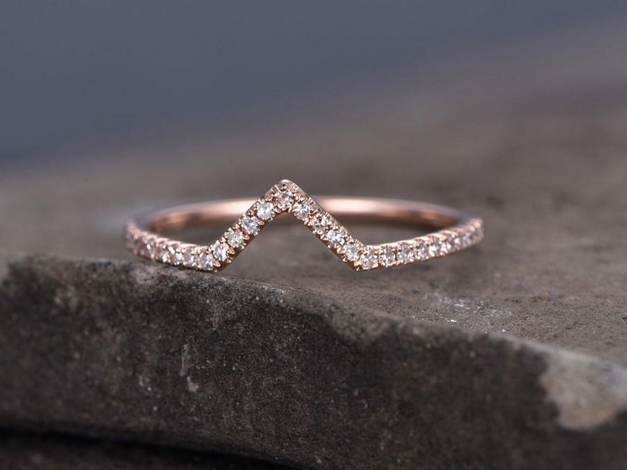 زفاف - Sterling silver ring/Cubic Zirconia wedding band/CZ wedding ring/stackable ring/Matching band/rose gold plated/Curved Sharp V shape gap ring
