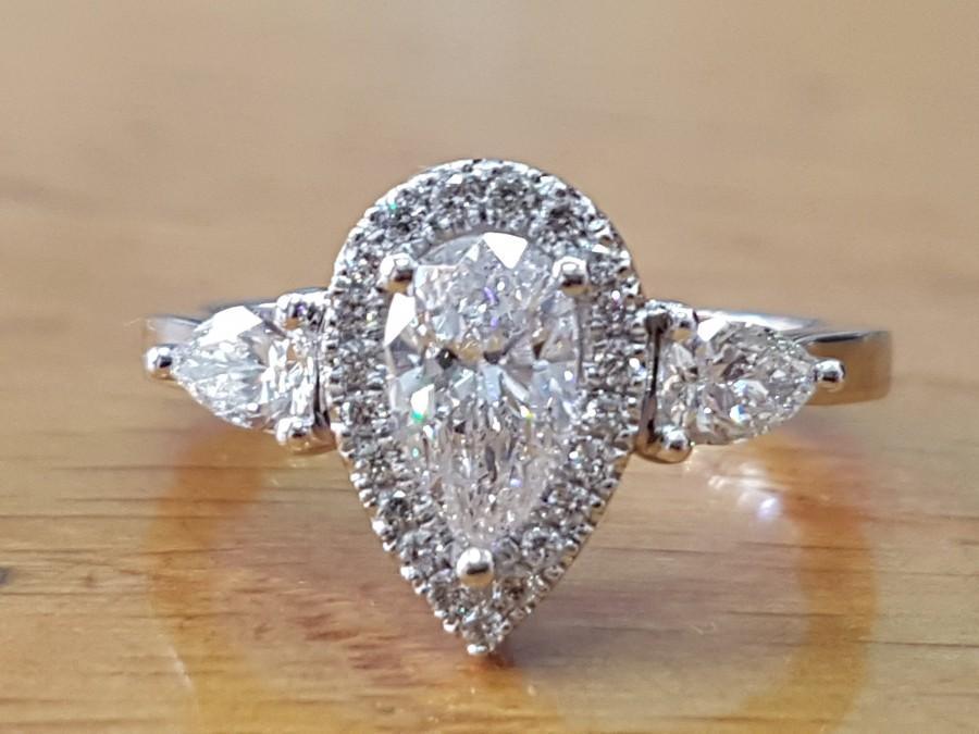 Wedding - 1 1/2 Carat Pear Shaped Engagement Ring,Halo Pear Cut Diamond Ring, 14K White Gold Ring, Vintage Pear Halo Engagement Ring, Pear Shaped Ring