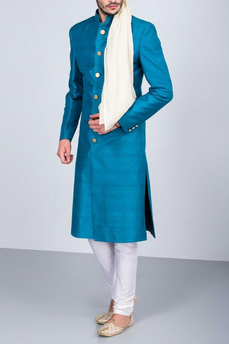 Hochzeit - Blue Wedding Jodhpuri suit Achkan Shewani for men / plus size available