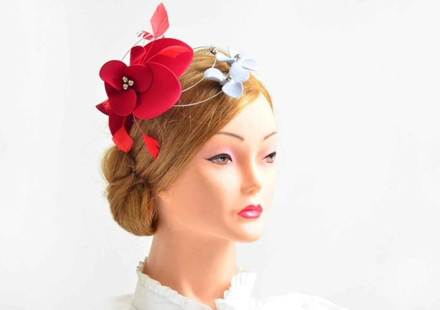 Свадьба - Large red and silver fascinator hat Red wedding headpiece Flower headpiece Wedding fascinator Fascinator headband