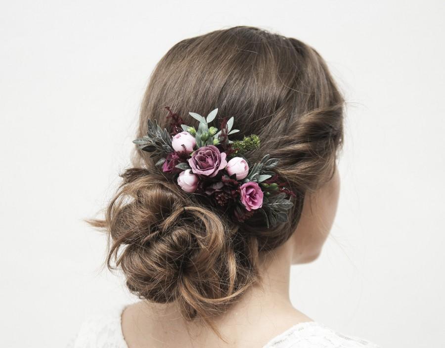 زفاف - Purple and burgundy flower hair comb, rustic hair accessory, wedding hair piece bride pink hair comb floral headpiece blush hair flower 1226