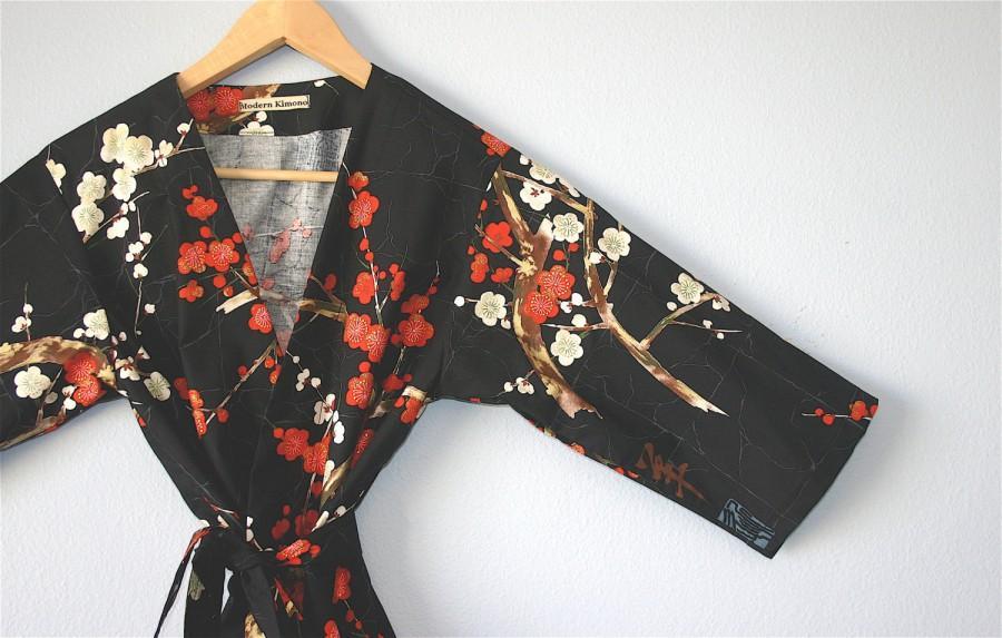 Свадьба - Kimono Robe//Black Cotton Floral Kimono Robe//Kimono//Kimono Robe long//Black Bridesmaid Robes//XS to Plus Size Kimono Robe.