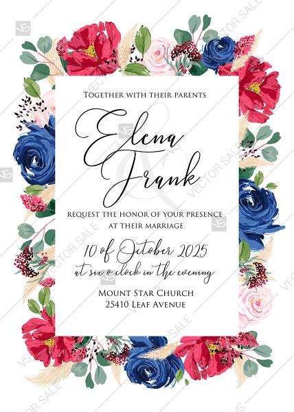 Hochzeit - Wedding invitation set watercolor navy blue rose marsala dark red peony pink anemone wreath greenery PDF 5x7 in invitation maker