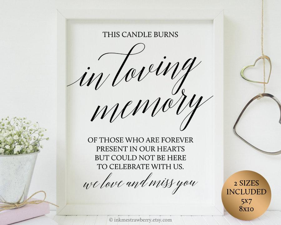 Mariage - This Candle Burns In loving memory Wedding Sign Memorial Candle Wedding Sign Printable In Memory Of Wedding Table Signs Memory Candle Quotes