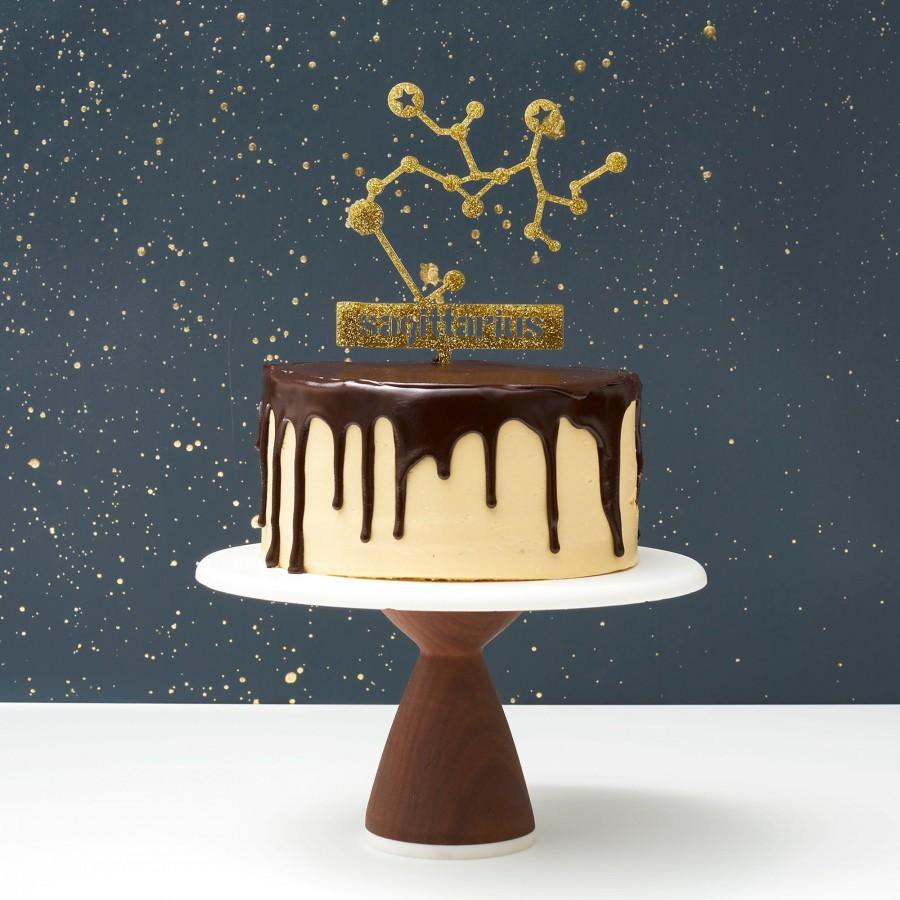 Свадьба - Zodiac Cake Toppers - Cake Toppers - Gold Glitter Cake Topper  - Birthday Toppers