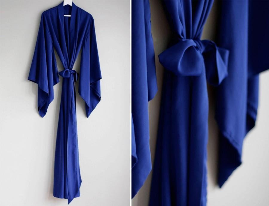 "Mariage - 1 custom long ""Noguchi"" kimono in faux silk. Long bohemian bridal Flapper kimono robe with pockets Tall curvy women duster Gift for her"