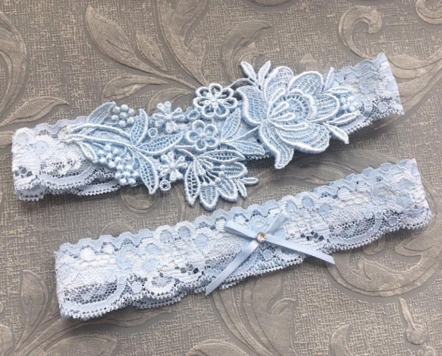 "Mariage - Blue Lace Wedding Garter Set, Blue Garter Set, Lace Garter, Toss Garter, Simple Lace Garters - Available in Ivory or White - ""Flora"""