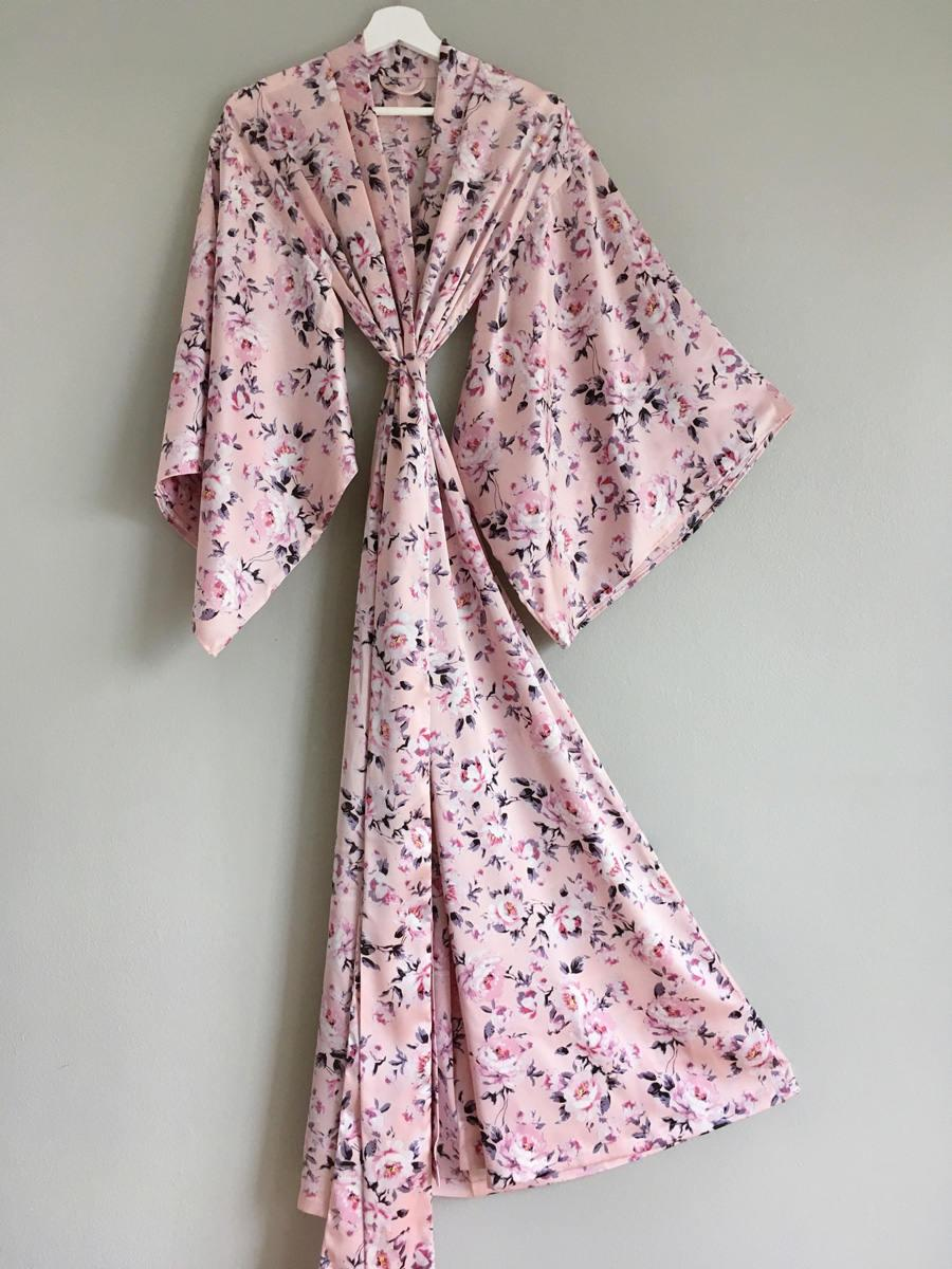 "Mariage - Champagne rose. 1 custom made ""Noguchi"" kimono robe in soft satin. Tall Womens floor length kimono robe. Long Bridal peony robe with pockets"