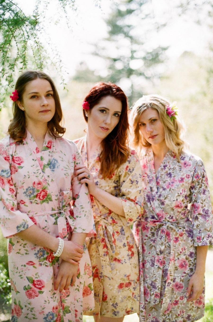 Mariage - The Painter's garden. 3 lined cotton floral robes in a knee length. Bridesmaids robes. Bridal robe. Womens robes with pockets.