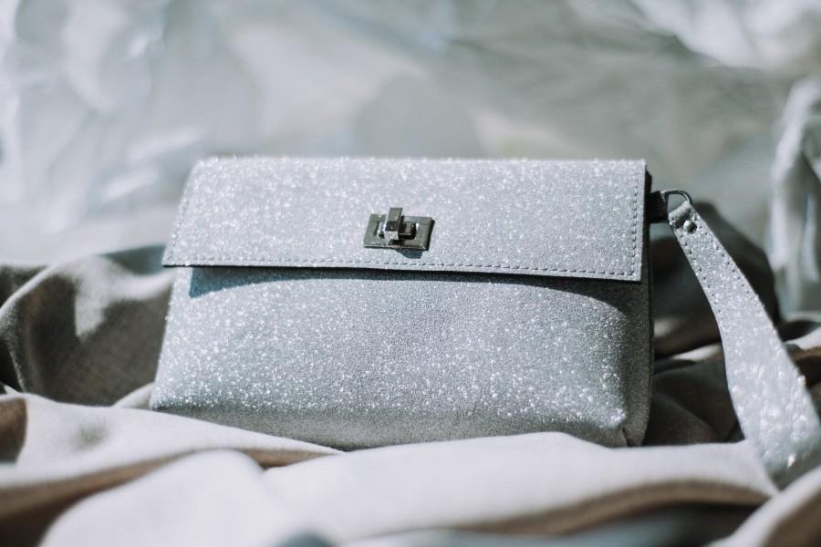 Mariage - Personalized  Leather Clutch Purse Handbag ladies bag, gifts for her, gift for women Glitter shimmer silver leather