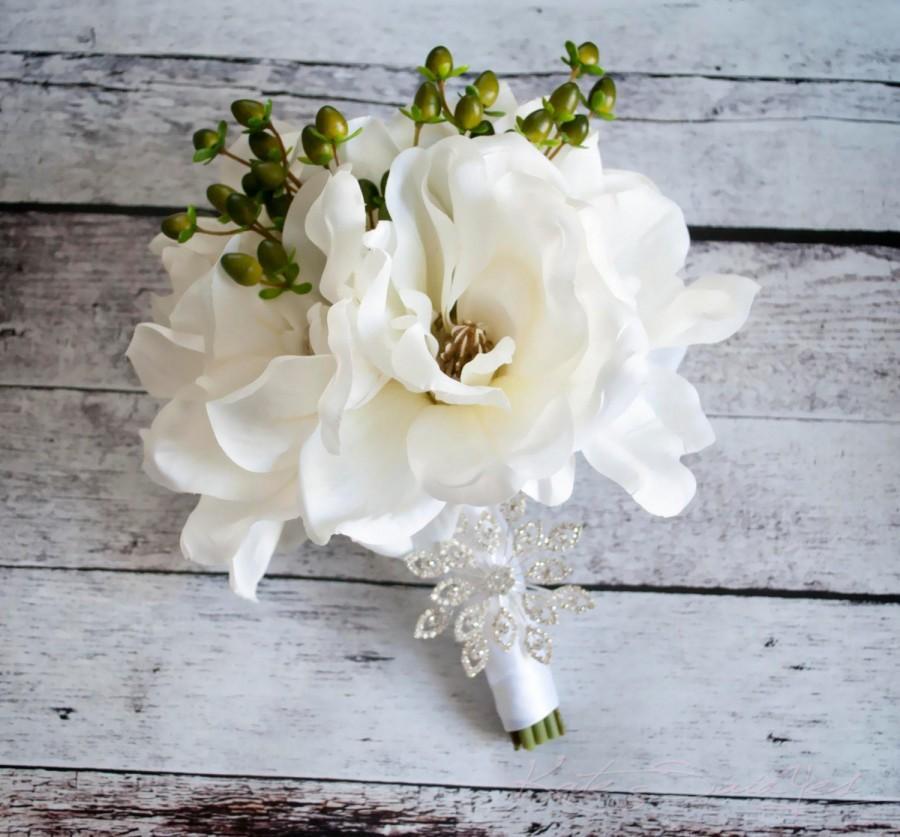 Свадьба - Magnolia Wedding Bouquet - Silk Wedding Bouquet