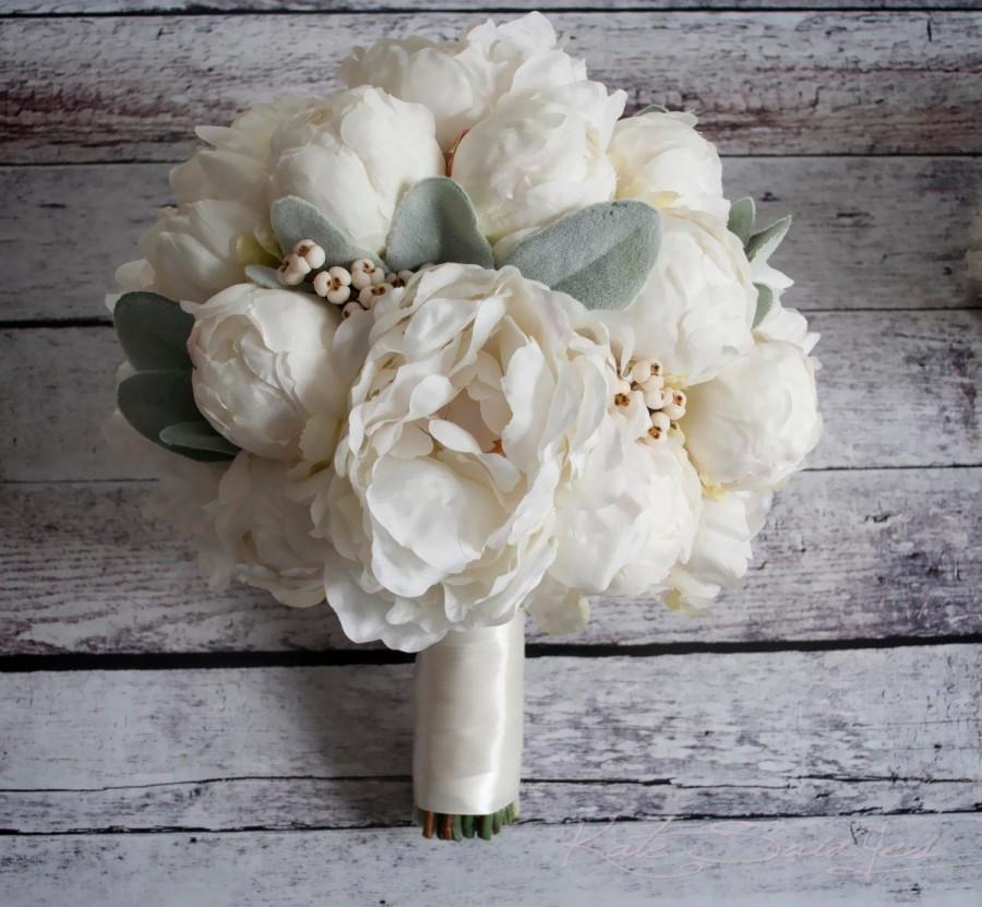 Mariage - Ivory Peony Wedding Bouquet - Peony Wedding Bouquet with Lamb's Ear and Berries