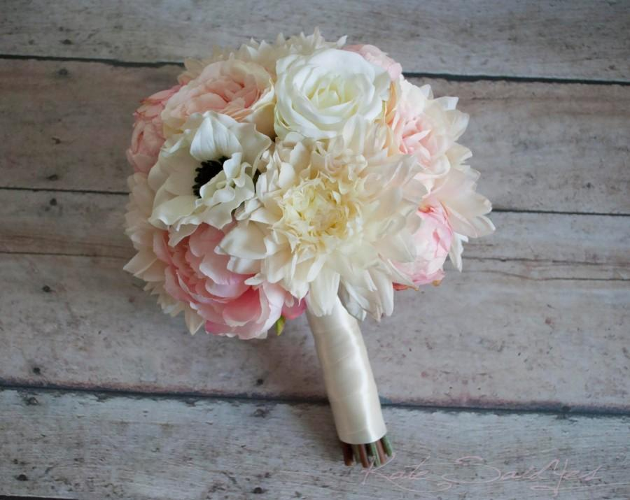 Mariage - Blush Pink and Ivory Peony Rose and Dahlia Wedding Bouquet