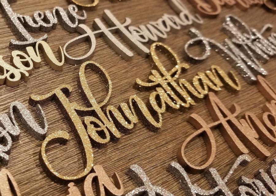 Mariage - 3D Wedding Wood Place Name Card, Custom Name Sign, Wedding Favors Gift, Laser Cut Guest Name Word, Table Setting Decoration *Free Shipping*