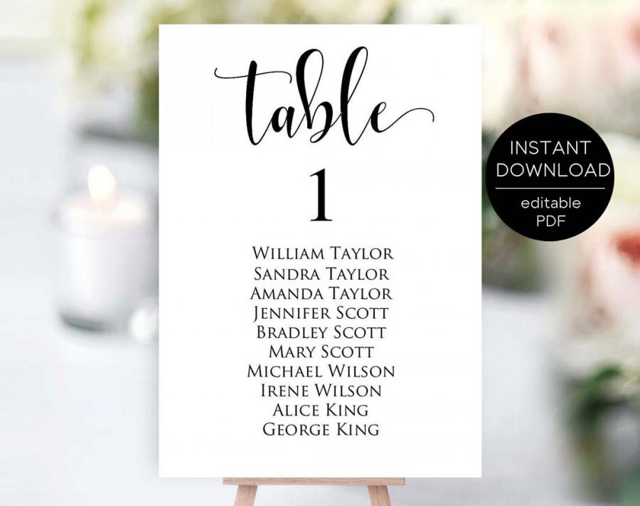 Hochzeit - Table Number Template, Editable Table Number Template, Seating Chart Cards, Table Numbers, Printable Table Numbers, Instant Download