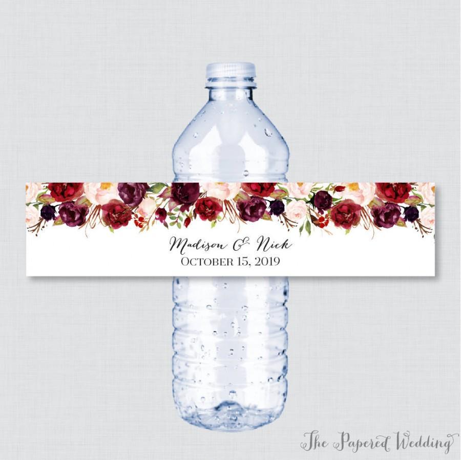 Mariage - Printable OR Printed Wedding Water Bottle Labels - Rustic Marsala Flower Custom Water Bottle Labels - Personalized Water Bottle Labels 0006