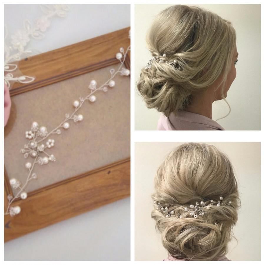 Wedding - Pearl Hair Vine Pearl and Crystal Wedding Hair Piece Pearl Wedding Hair Vine Bridal Hair Piece Pearl Bridal Hair Vine, Bridal Head Piece MIA
