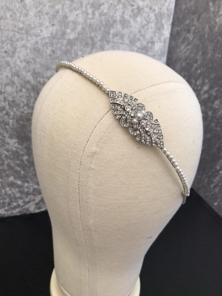 Mariage - Gatsby headband - flapper headpiece - Bridal hair accessories , 1920s dress , Art Deco style wedding accessory.