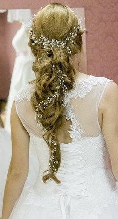 زفاف - Extra long hair vine Pearl headband Wedding Pearl headband Bridal Hair Accessories Wedding hair vine babys breath hair piece crystal vine