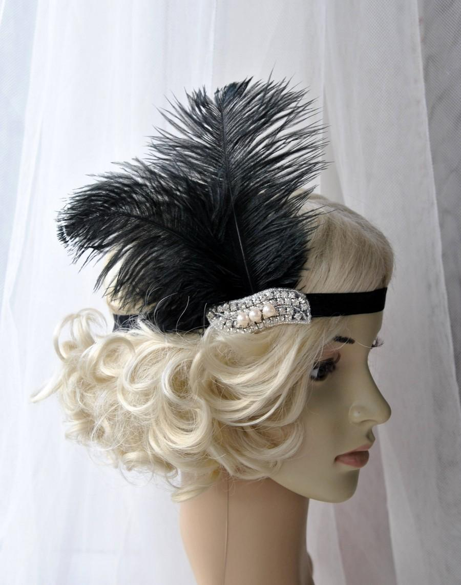 Mariage - The Great Gatsby 20's  Pearls flapper Headpiece, Vintage Inspired, Bridal 1920s Headpiece Rhinestone headband bridesmaid flapper headpiece