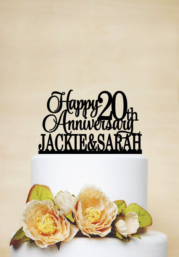 Mariage - Happy 20th Anniversary Cake Topper, 20 years Love,Anniversary Cake Topper,Commemoration Cake Topper,Custom Two Names Cake Topper-A052
