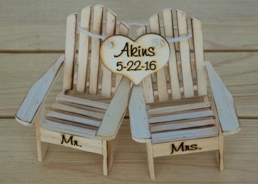 Wedding - Cake Topper Adirondack Chairs-Beach Wedding-Cottage Wedding-Shabby Chic- Rustic Chic Burned/Engraved Mr. & Mrs. Adirondack cake toppers