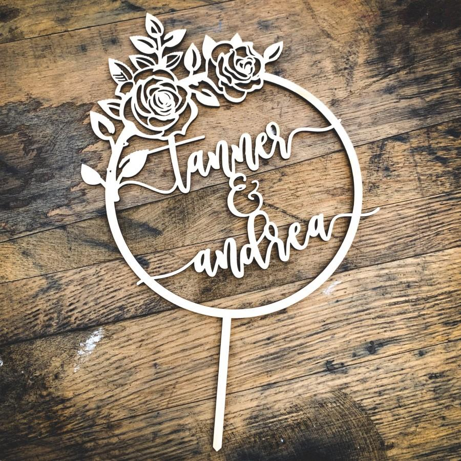 Mariage - Rose Wreath Custom Wedding Cake Topper - Customize Your Own - Made in the USA - Quick Ship