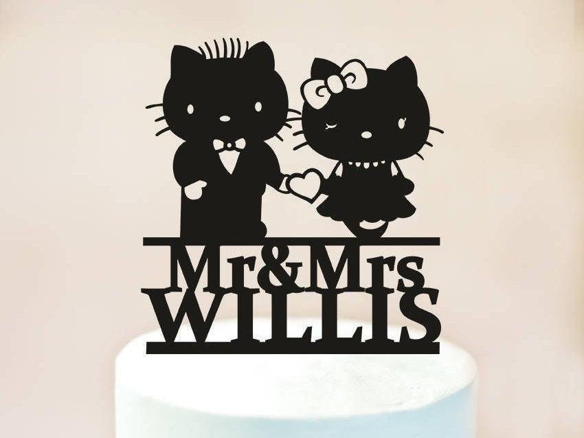 Mariage - Hello Kitty cake topper,Wedding Cake Topper,Silhouette Cake Topper,custom cake topper,Bride and Groom Cake Topper,Wood cake topper (1135)