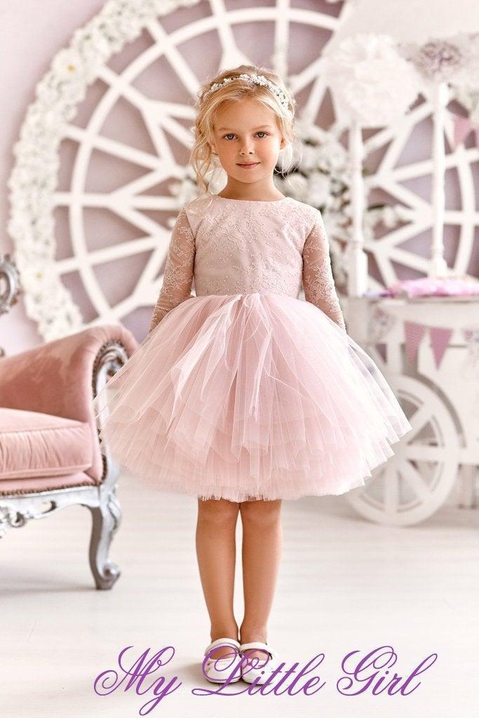 Свадьба - Flowers Girl Dress, Lace Flowers Girl Dress, Dress Child, Rose Flowers Girl Dress, Tull Flowers Girl Dress, Baby Girl Dress, Pink Girl Dress