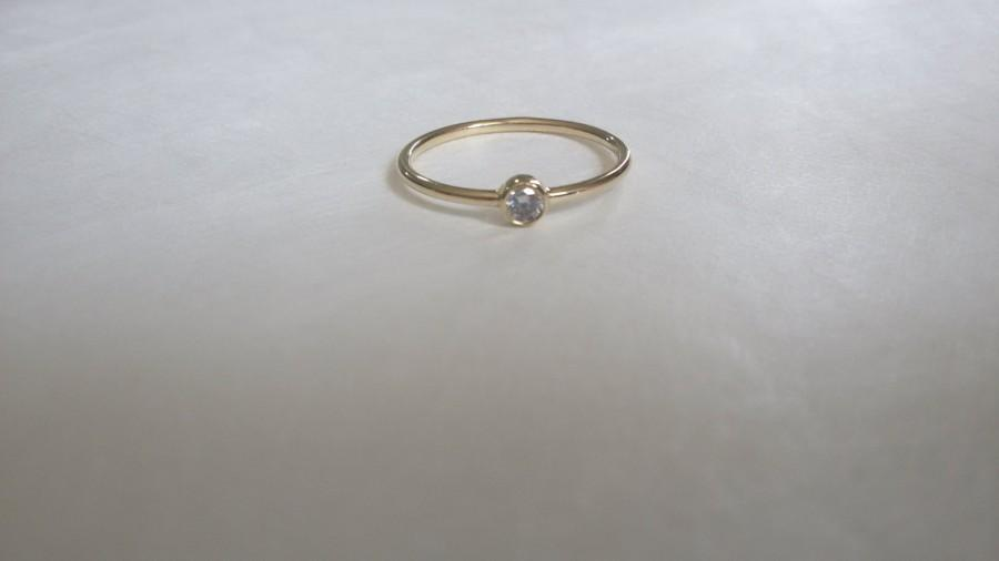 Mariage - Gold Ring, Solitaire Gold Ring, 14k Gold Ring, Tiny Ring, Gold Engagement Ring, Tiny Solitaire 14K Gold Ring