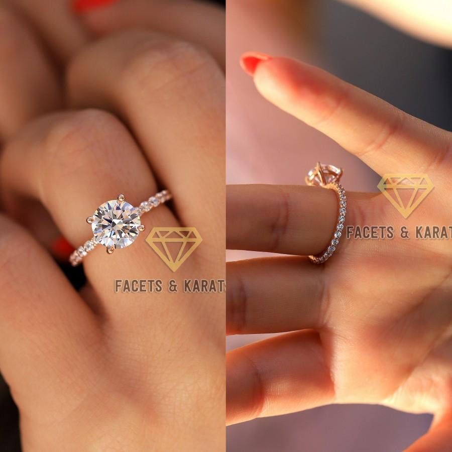 Свадьба - 2.5 cttw Eternity Band Engagement Ring Wedding Ring, Custom Engagement Rings, Round Cut Infinity Ring, 14k SOLID Rose Gold, Facets & Karats