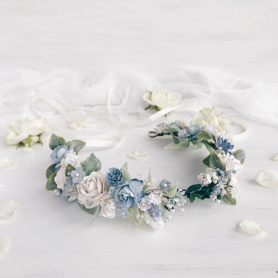 Mariage - Bridal flower crown, Blue floral crown, Floral wedding crown, Wedding flower headpiece, Wedding flower crown, Rustic wedding, Woodland