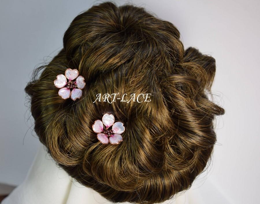 Wedding - Sakura hairpin Rose gold hair accessories for women Cherry Blossom hair clip Chinese hairpin Japanese Bridal flower Hairpin Decorative pin